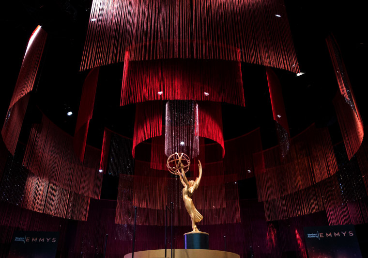 Image: An Emmy Statue at the Governors Ball press preview in Los Angeles on Sept. 12, 2019.
