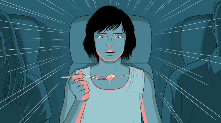 Illustration of shocked woman starting at spoonful of questionable food on an airplane.