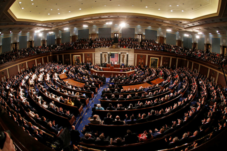 Image: President Donald Trump delivers his State of the Union address to a joint session of Congress on Capitol Hill in Washington