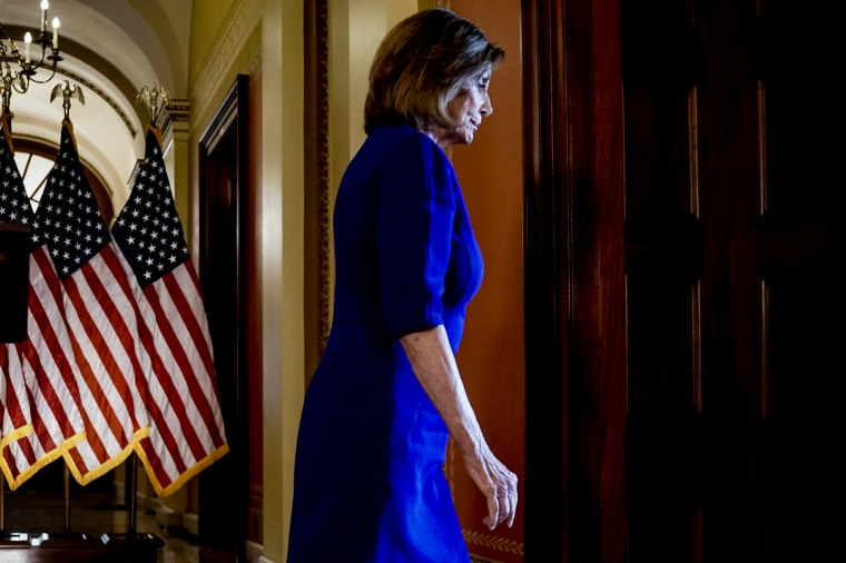 Image: House Speaker Nancy Pelosi walks from the podium after announcing a formal impeachment inquiry into President Donald Trump on Sept. 24, 2019.