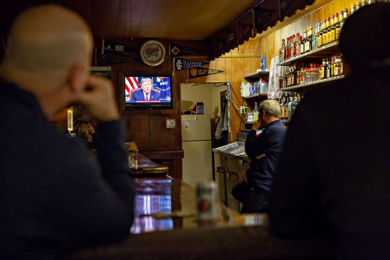 Image: President Donald Trump addresses the nation on border security as customers watch at the Princeton Inn in Illinois on Jan. 8, 2019.