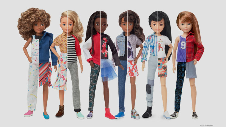"""Creatable World"" is a customizable doll line allowing kids to style the doll with short or long hair, or in a skirt, pants, or both."