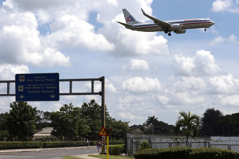 Image: An American Airlines plane approaches the Jose Marti International Airport in Havana in 2015.