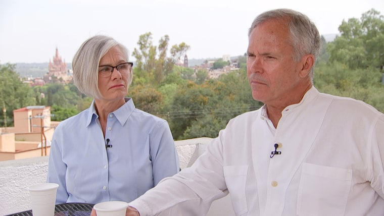 Kelly (left) and Jim Karger (right) moved to San Miguel de Allende from Dallas more than 18 years ago. They said they found out that nearly all the money they had put away through Monex was gone when Jim visited a Monex branch in the city of Quer?taro last December.