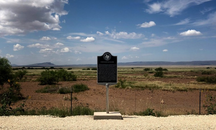 Image: A historical marker for the Porvenir Massacre, outside the town of Marfa, Texas.