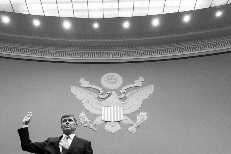 Image: Acting Director of National Intelligence Joseph Maguire is sworn in before testifying