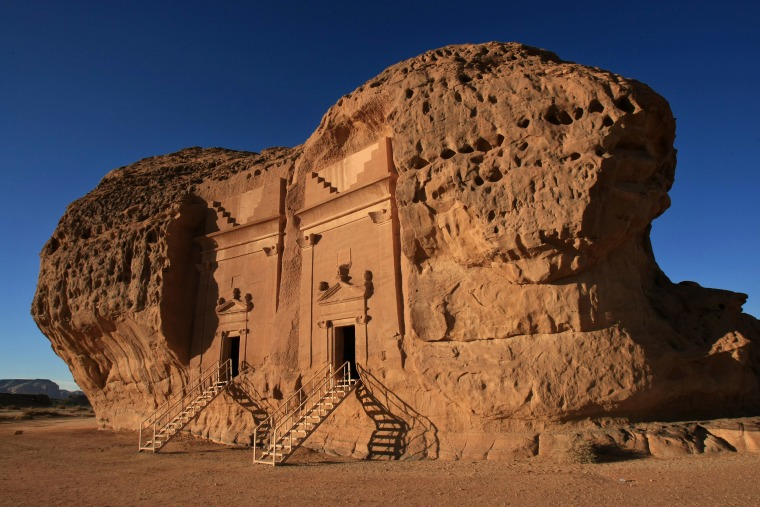 Image: A section of the Archaeological Site of Al-Hijr, also known as Madain Saleh, in northern Saudi Arabia.