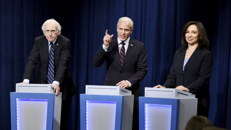 Image: Larry David, Woody Harrelson, and Maya Rudolph during a sketch on Saturday Night Live on Sept. 28, 2019.