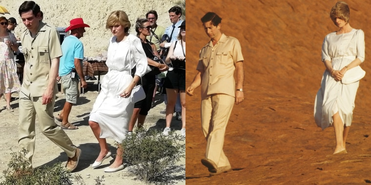 """Actors Josh O'Connor and Emma Corrin on the set of """"The Crown"""" re-create Prince Charles and Princess Diana's royal tour of Australia in 1983."""