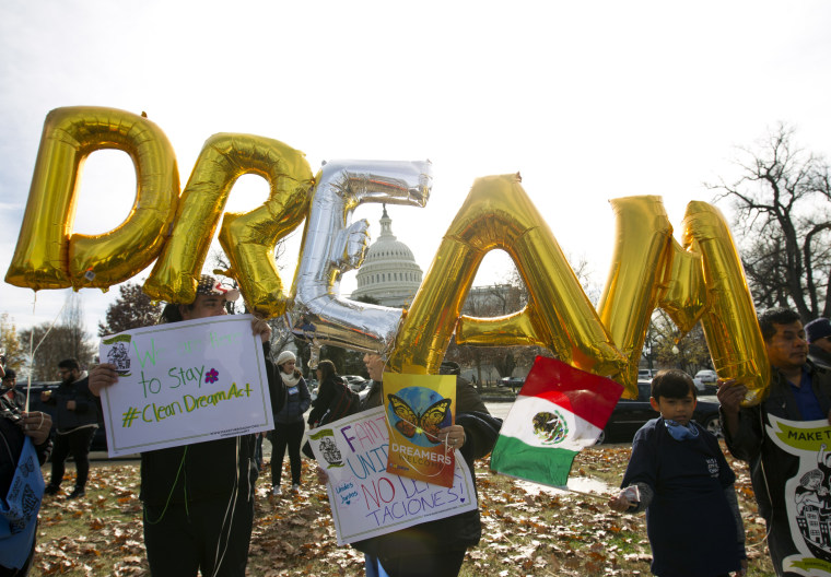 Image: Demonstrators at an immigration rally in support of the Deferred Action for Childhood Arrivals and Temporary Protected Status programs near the Capitol in Washington on Dec. 6, 2017.