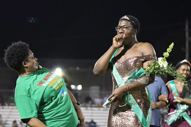 Image: Brandon Allen, 17, was crowned homecoming royalty at White Station High School in Memphis, Tennessee