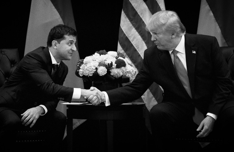 Image: Ukrainian President Volodymyr Zelensky and President Donald Trump shake hands at the United Nations on Sept. 25, 2019.