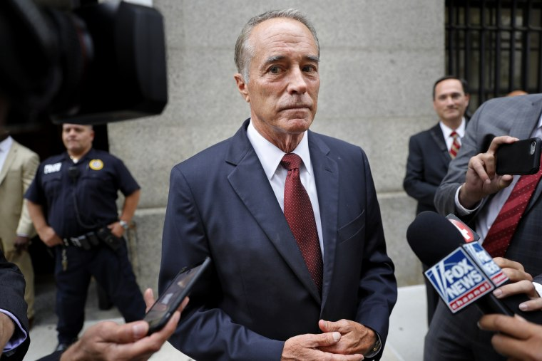Image: Rep. Chris Collins, R-N.Y., leaves court after a pre-trial hearing in his insider-trading case on Sept. 12, 2019.