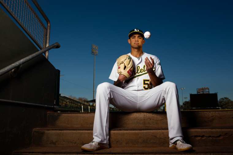 Image: Sean Manaea of the Oakland Athletics at HoHoKam Stadium in Arizona on Feb. 22, 2018.