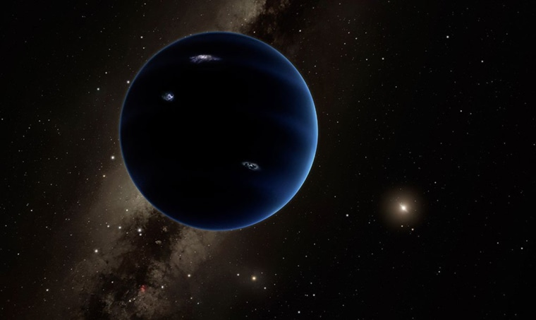 Image: This artistic rendering shows the distant view from Planet Nine back towards the sun. The planet is thought to be gaseous, similar to Uranus and Neptune. Hypothetical lightning lights up the night side.