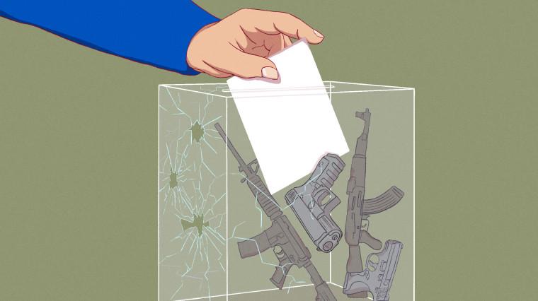 Illustration of hand casting ballot in ballot box full of guns.