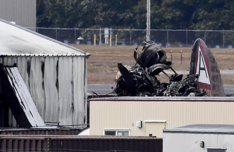Image: Wreckage of a vintage B-17 bomber plane after it crashed at Bradley International Airport in Connecticut on Oct. 2, 2019.