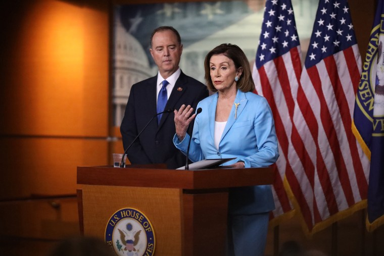 Image: Rep. Adam Schiff Joins Nancy Pelosi At Her Weekly News Conference On Capitol Hill