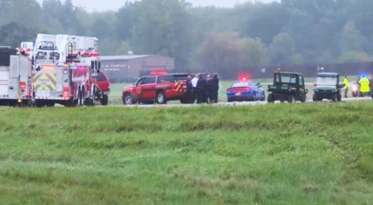 The scene of a single-engine plane that crashed near Capital Region International Airport in Dewitt Township