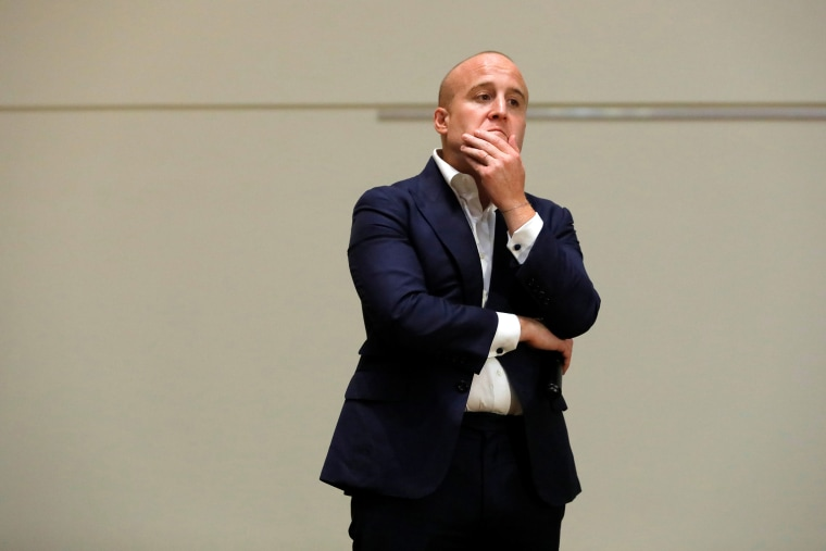 Image: U.S. Representative Max Rose (D-NY) speaks during a Town Hall Meeting in Staten Island, New York