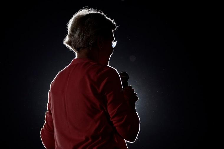 Democratic presidential candidate Elizabeth Warren at a rally in San Diego