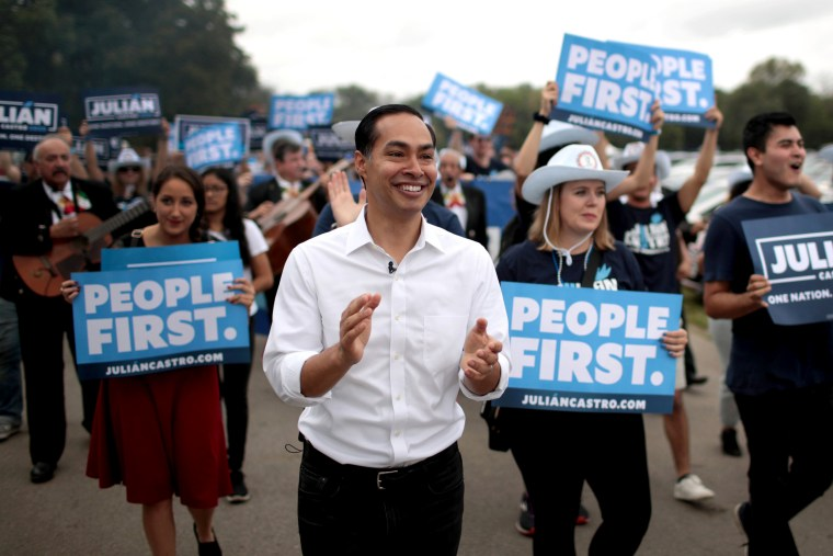 Image: Julian Castro marches with supporters at the Polk County Democrats' Steak Fry in Des Moines, Iowa, on Sept. 21, 2019.