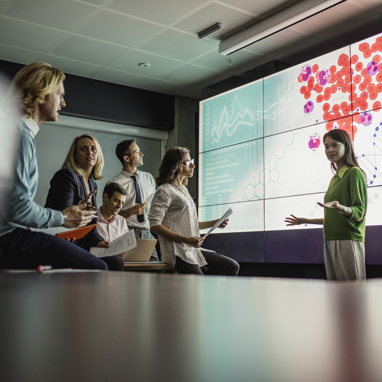 Meeting in Front of a Large Display Screen