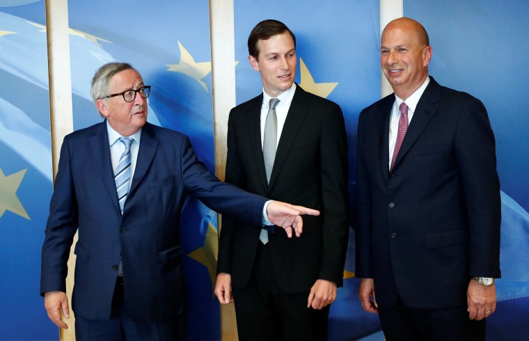EU Commission President Juncker poses with White House senior adviser Kushner and U.S. Ambassador to the EU Sondland in Brussels