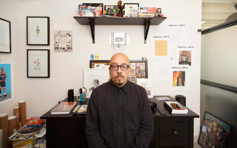 Author Shea Serrano in his office.
