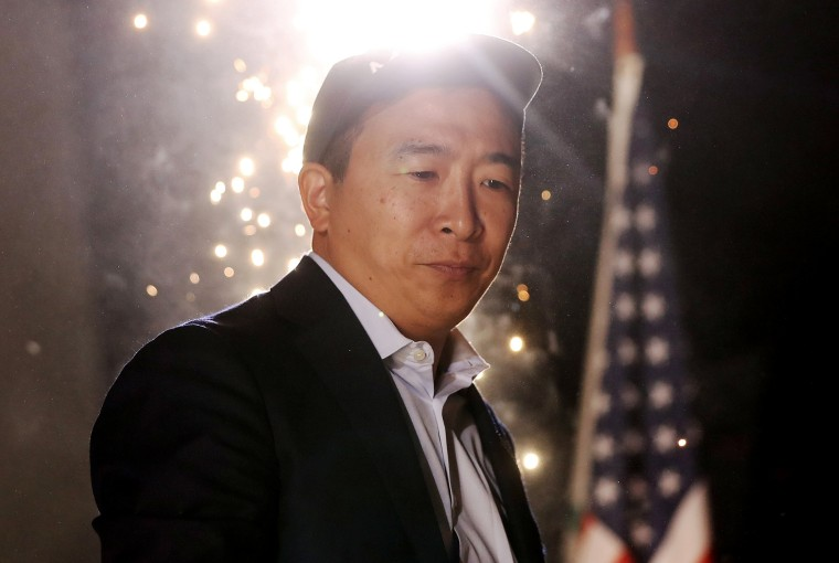 Image: Andrew Yang attends a campaign rally in Los Angeles on Sept. 30, 2019.