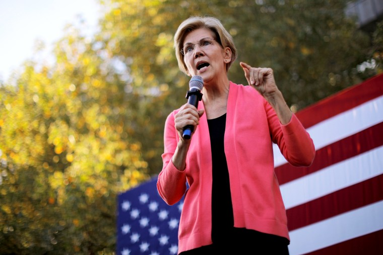 Image: Sen. Elizabeth Warren, D-Mass., speaks at a campaign rally in Keene, N.H., on Sept. 25, 2019.