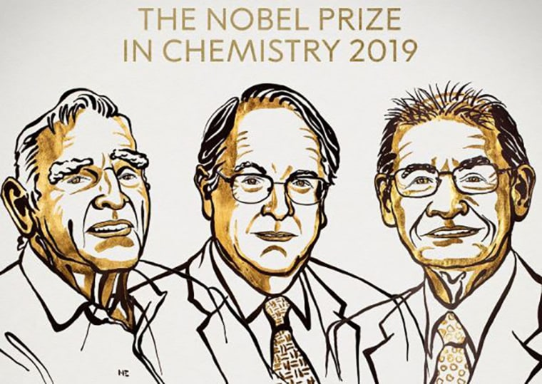 "Image: Laureates of the 2019 Nobel Prize in Chemistry, John B. Goodenough, M. Stanley Whittingham, and Akira Yoshino ""for the development of lithium-ion batteries""."