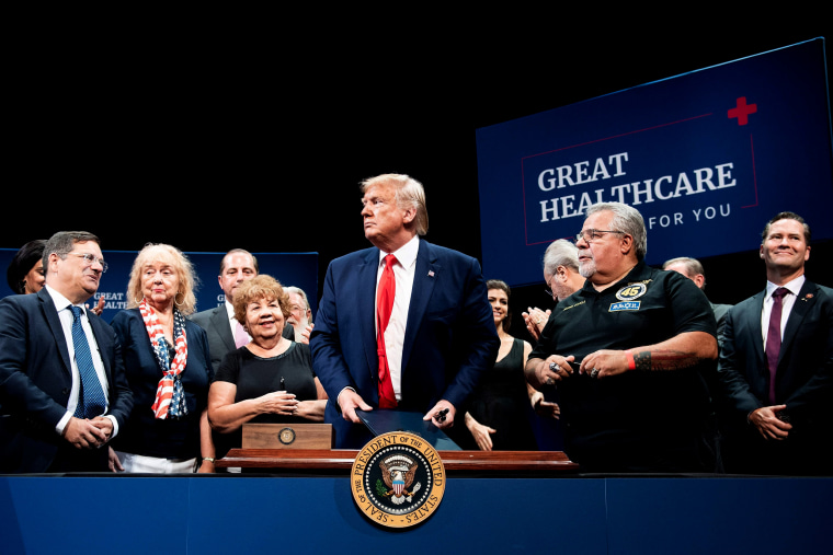 Image: President Donald Trump leaves after signing an executive order on Medicare in The Villages, Fla., on Oct. 3, 2019.