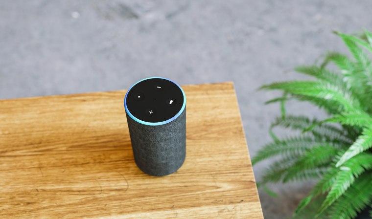 Image; Amazon Alexa Smart Speaker, High Angle View Of Smart Speaker On Table