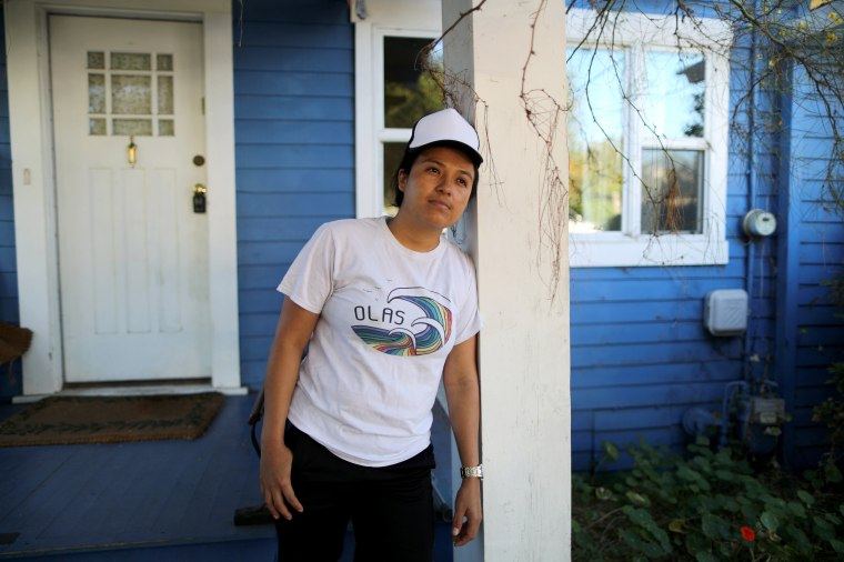 Image: Guatemalan asylum seeker Marveny Suchite poses for a portrait outside of her home in Berkeley, Calif., on Sept. 6, 2019.