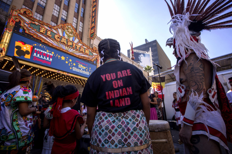 Image: Dancers from the Anahuacalmecac International University Preparatory pray before an Indigenous People's Day Celebration in Hollywood on Oct. 8, 2017.
