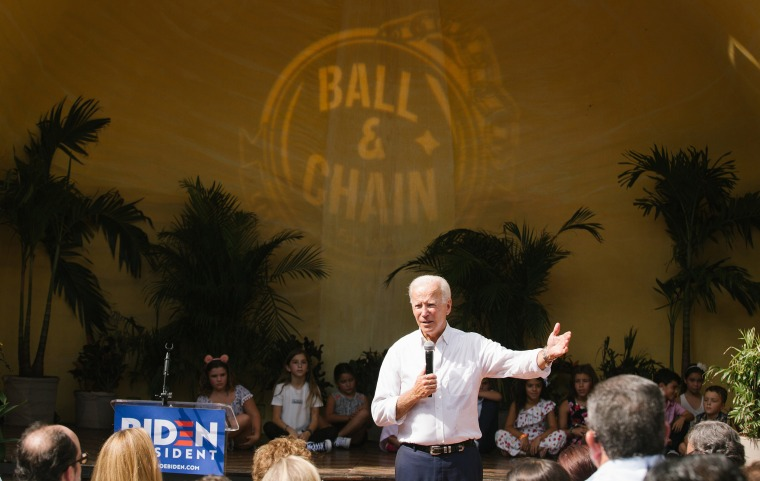 Image: Former Vice President Joe Biden campaigns during a meet and greet at the Ball & Chain restaurant in the Little Havana section of Miami, on Sunday, Sept. 15, 2019. (Alicia Vera, The New York Times)