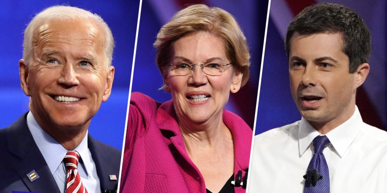 Image: Joe Biden, Elizabeth Warren, Pete Buttigieg