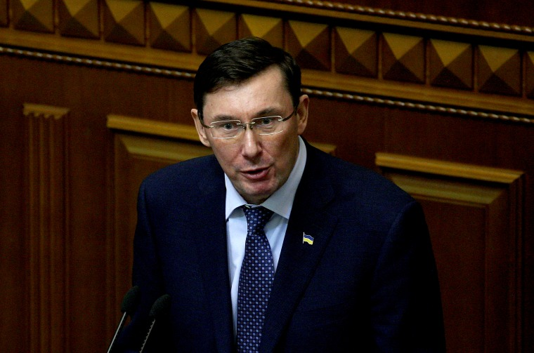 Image: Prosecutor General of Ukraine Yuriy Lutsenko speaks at a trial in Kiev in 2017.