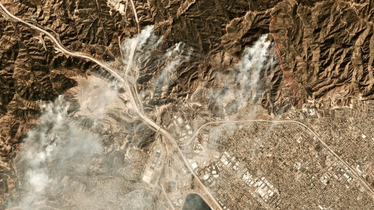 Image: A satellite photo shows smoke from the Saddleridge Fire north of Los Angeles on Oct. 11, 2019.