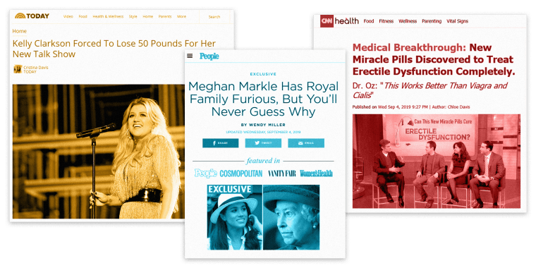 How fake news stories about Meghan Markle and Kelly Clarkson are used to sell diet pills and wrinkle creams