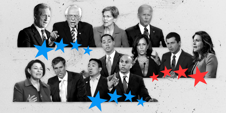 Image: Twelve candidates will take the stage in a Democratic presidential primary debate in Columbus, Ohio, on Oct. 15, 2019.