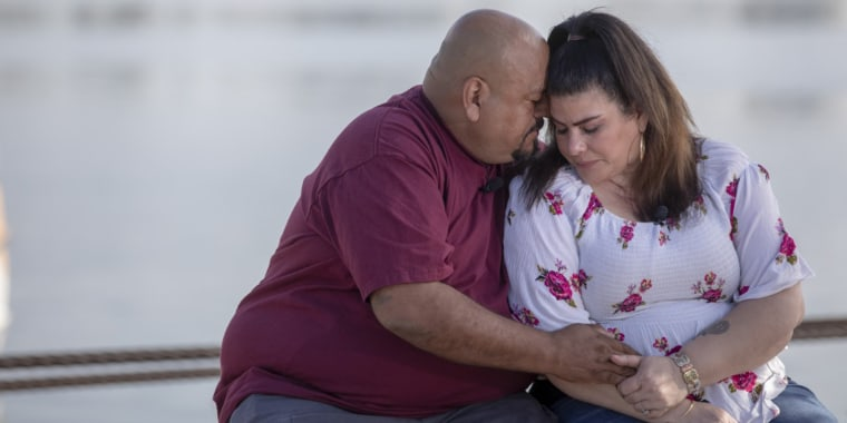 """Jerry Olivas embraces his wife Hanna. The couple has been urging Nevada lawmakers to pass a """"Death with Dignity"""" bill after her terminal diagnosis."""