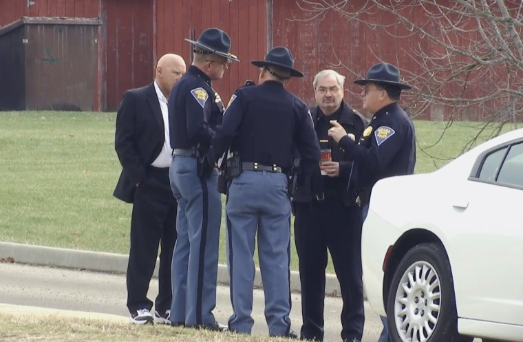 Authorities, including State Police, gather following a shooting at Dennis Intermediate School in Richmond