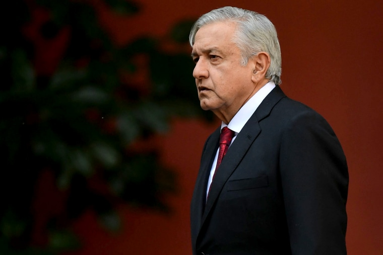 Image: Mexican President Andres Manuel Lopez Obrador arrives at the National Palace in Mexico City on March 11, 2019.