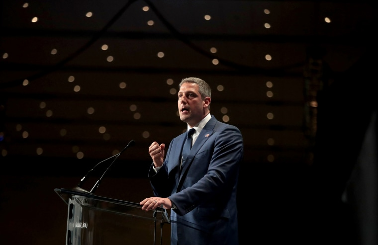 Image: Rep. Tim Ryan, D-Ohio, speaks at the Iowa Democratic Party's Hall of Fame Dinner in Cedar Rapids on June 9, 2019.