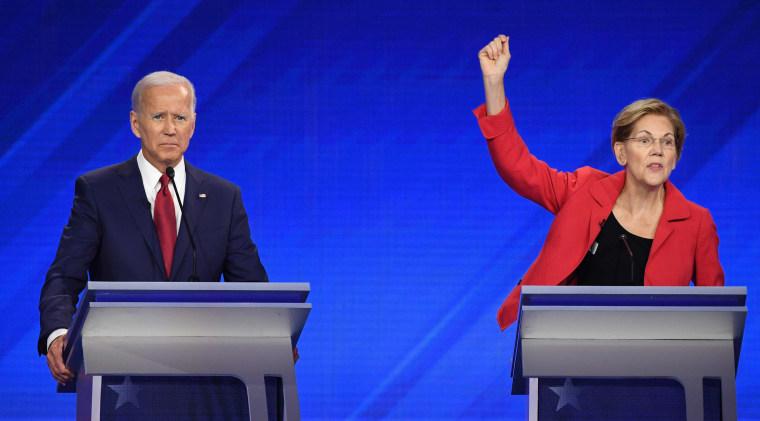 Democratic presidential hopefuls former Vice President Joe Biden Sen. Elizabeth Warren participate in a debate in Houston on Sept. 12, 2019.