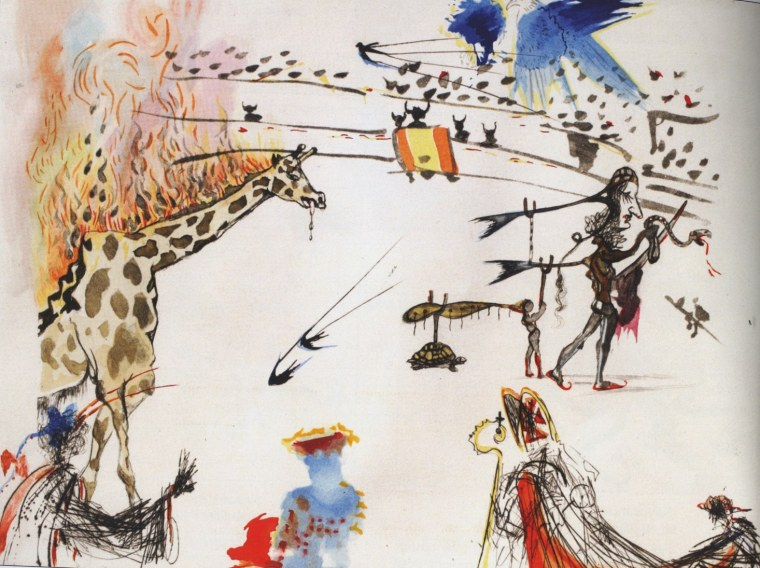 """Surrealistic Bullfight: Burning Giraffe"" by Salvador Dali."