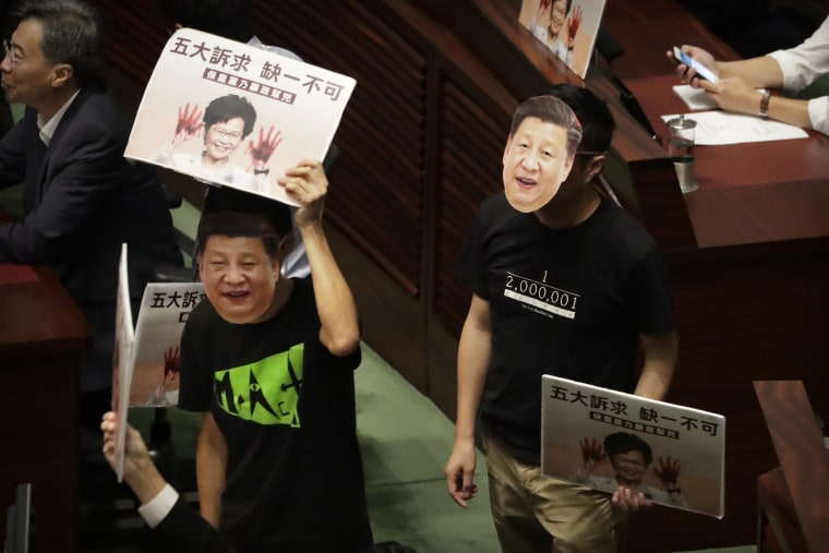 Chaos as Hong Kong lawmakers thwart leader Carrie Lam's annual address