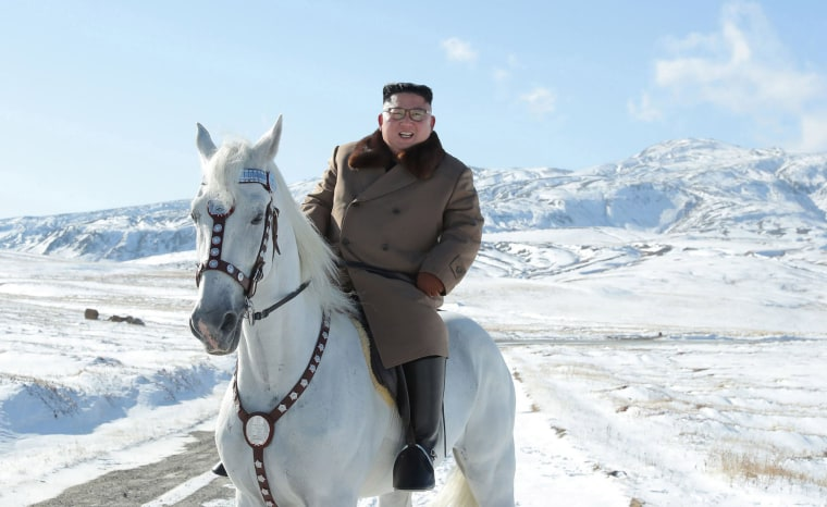Image: North Korean leader Kim Jong Un riding a white horse amongst the first snow at Mouth Paektu, Oct. 16, 2019.